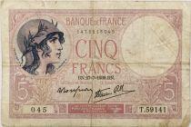 France 5 Francs Violet - 27-07-1939 Série T.59141  - TB