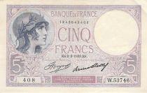 France 5 Francs Violet 02-03-1933 Série W.53746 - TTB
