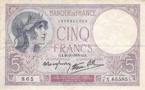 France 5 Francs Violet 02-11-1939 Série X.65585 - PTTB