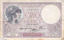 France 5 Francs Violet 02-11-1939 Série Z.65783 - TB+