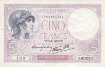 France 5 Francs Violet 03-08-1939 Série J.60223 - TTB