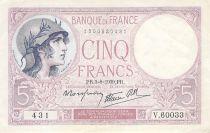 France 5 Francs Violet 03-08-1939 Série V.60033 - TTB+
