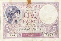 France 5 Francs Violet 05-10-1918 Série F.3935 - TB+