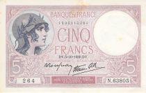 France 5 Francs Violet 05-10-1939 Série N.63805 - PSUP