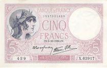 France 5 Francs Violet 05-10-1939 Série X.63917 - PSUP