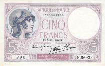 France 5 Francs Violet 05-12-1939 Série K.66933 - TTB+