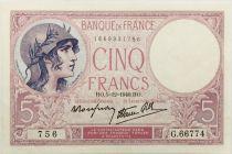 France 5 Francs Violet 05-12-1940 Série G.66774 - SUP