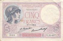 France 5 Francs Violet 07-01-1928 Série V.31437 - TB+