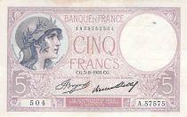 France 5 Francs Violet 07-09-1933 Série A.57575 - TTB