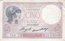 France 5 Francs Violet 07-09-1933 Série H.57620 - PTTB
