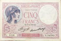 France 5 Francs Violet 13-04-1933 Série A.54592 - TTB