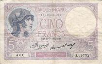 France 5 Francs Violet 13-07-1933 Série Q.56732 - TB
