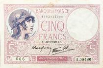 France 5 Francs Violet 13-07-1939 Série A.58486 - TTB