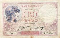 France 5 Francs Violet 13-10-1928 Série T.37074 - TB