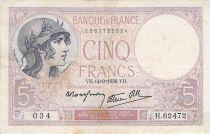 France 5 Francs Violet 14-09-1939 Série H.62472 - PTTB