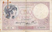 France 5 Francs Violet 14-09-1939 Série K.62005 - TB+