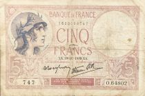 France 5 Francs Violet 19-10-1939 Série O.64802 - TB