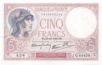 France 5 Francs Violet 19-10-1939 Série Q.64426 - SUP+