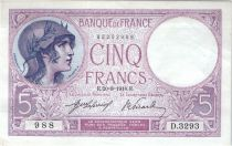 France 5 Francs Violet 20-08-1918 Série D.3293