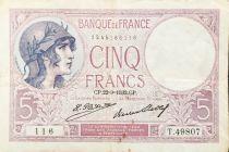France 5 Francs Violet 22-09-1932 Série T.49807 - TTB