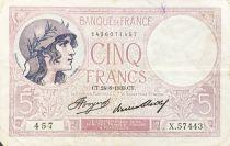 France 5 Francs Violet 24-08-1933 Série X.57443 - TTB