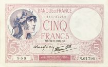 France 5 Francs Violet 24-08-1939 Série N.61790 - TTB+