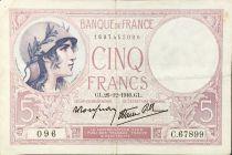 France 5 Francs Violet 26-10-1940 Série C.67899 - TTB