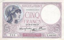 France 5 Francs Violet 28-11-1940 Série E.66395 - TTB