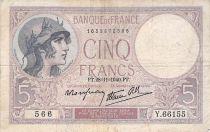 France 5 Francs Violet 28-11-1940 Série Y.66155 - TB+