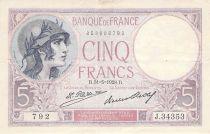 France 5 Francs Violet 31-05-1928 Série J.34353 - PTTB