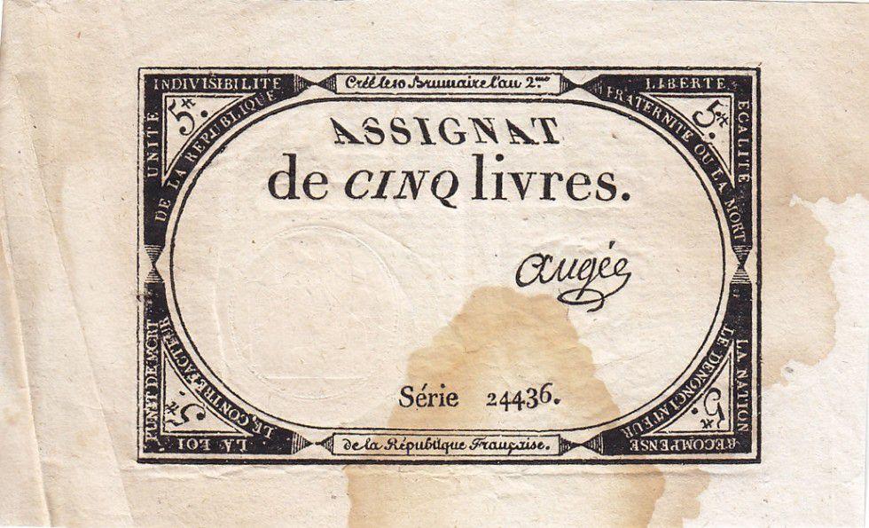 France 5 Livres 10 Brumaire An II (1793-10-31) - Sign. Augée
