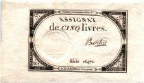 France 5 Livres 10 Brumaire An II (1793-10-31) - Sign. Bertin