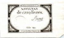 France 5 Livres 10 Brumaire An II (1793-10-31) - Sign. Brouz