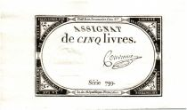 France 5 Livres 10 Brumaire An II (1793-10-31) - Sign. Convieme