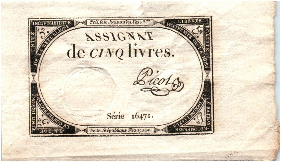 France 5 Livres 10 Brumaire An II (1793-10-31) - Sign. Picot