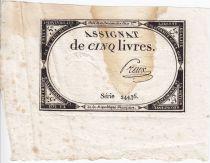 France 5 Livres 10 Brumaire An II (1793-10-31) - Sign. Preux
