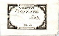 France 5 Livres 10 Brumaire An II (1793-10-31) Sign. Sanche