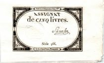 France 5 Livres 10 Brumaire An II (31-0-1793) - Sign. Sanche