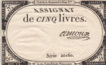 France 5 Livres 10 Brumaire An II (31-10-1793) - Sign. Arnoux