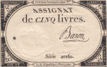 France 5 Livres 10 Brumaire An II (31-10-1793) - Sign. Baron