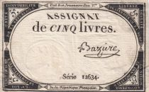 France 5 Livres 10 Brumaire An II (31-10-1793) - Sign. Bazire