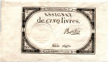France 5 Livres 10 Brumaire An II (31-10-1793) - Sign. Bertin