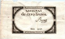 France 5 Livres 10 Brumaire An II (31-10-1793) - Sign. Brouz