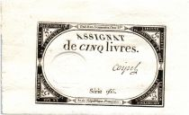 France 5 Livres 10 Brumaire An II (31-10-1793) - Sign. Coipel
