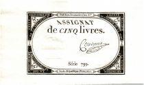 France 5 Livres 10 Brumaire An II (31-10-1793) - Sign. Convieme