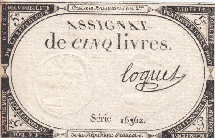 France 5 Livres 10 Brumaire An II (31-10-1793) - Sign. Coquet