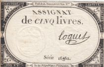 France 5 Livres 10 Brumaire An II (31-10-1793) - Sign. Coquet