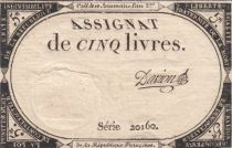 France 5 Livres 10 Brumaire An II (31-10-1793) - Sign. Davion