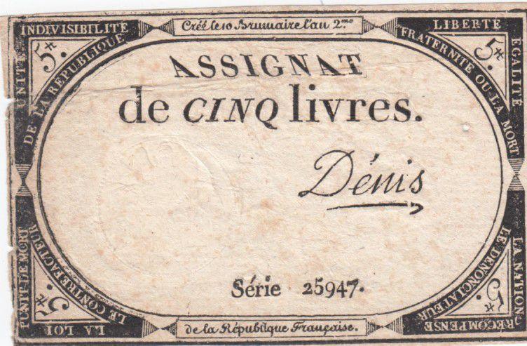 France 5 Livres 10 Brumaire An II (31-10-1793) - Sign. Denis