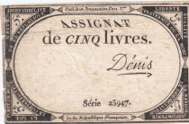 France 5 Livres 10 Brumaire An II (31-10-1793) - Sign. Denis